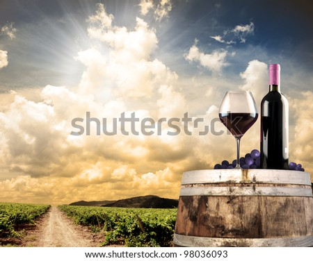 Wine still life with cask and vineyard - stock photo