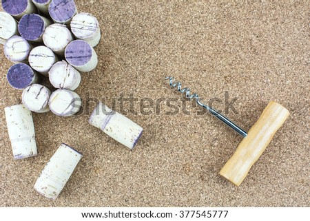 Wine stoppers on wooden background./ Wine stoppers  - stock photo