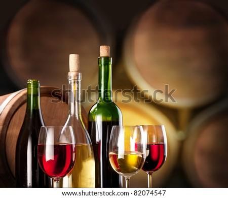 Wine tasting in the wine cellar. - stock photo