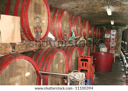Wine tun in cellar - stock photo