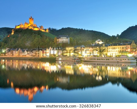 Wine Village of Cochem at Mosel River,Mosel Valley,Rhineland-Palatinate,Germany - stock photo