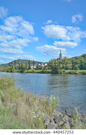 Wine Village of Dieblich at Mosel River in Mosel Valley near Cochem,Rhineland-Palatinate,Germany - stock photo