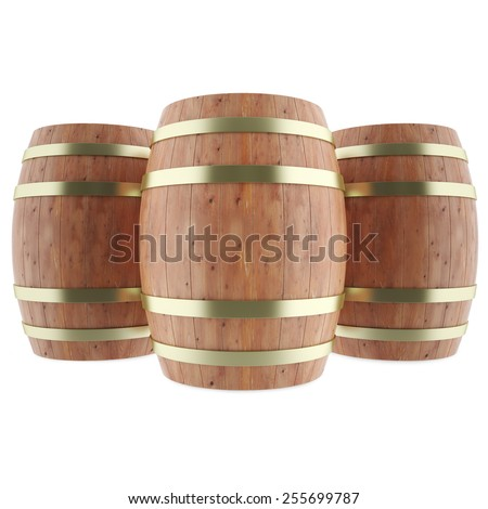Wine, whiskey, rum, beer, barrels isolated on white background. 3d illustration high resolution - stock photo