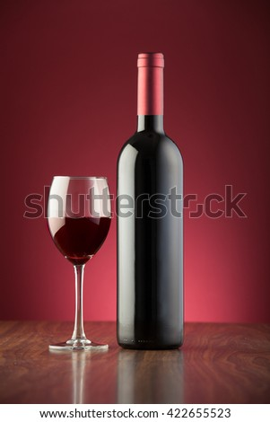 Wine, Wine Bottle, Drinking Glass, Red Wine, Glass - Material - stock photo