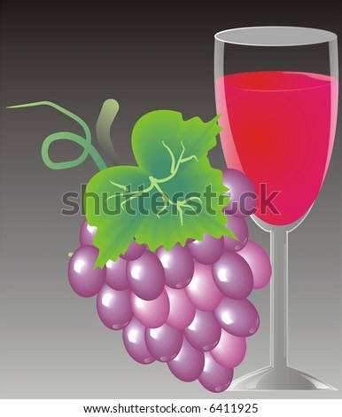 wine with grapes - stock photo