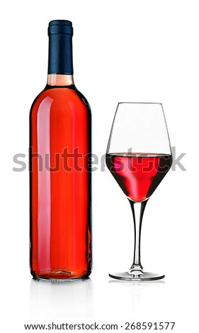 Wineglass and bottle isolated on white - stock photo