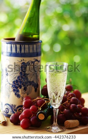 wineglass and ripe grappes - stock photo