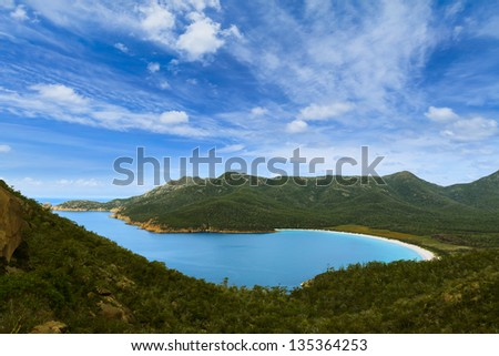 Wineglass Bay in Tasmania, Australia during the day - stock photo