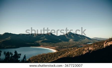 Wineglass Bay in Tasmania in the morning. - stock photo