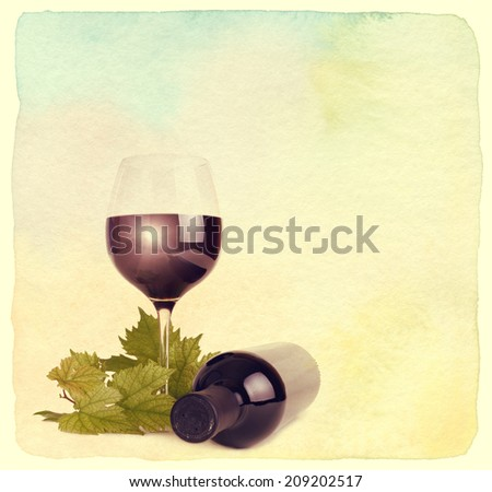 Wineglass, bottle of wine and grapes leaf. Vintage retro style. Paper watercolor textured. - stock photo