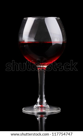Wineglass isolated on black - stock photo