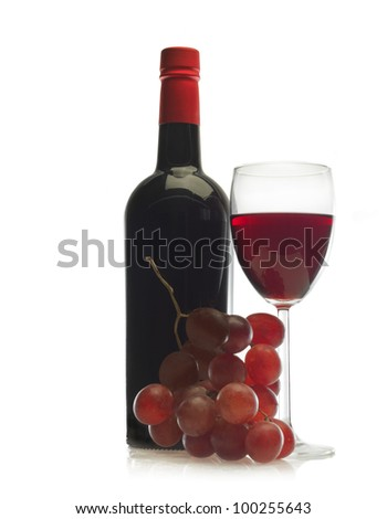 Wineglass of red wine and a bottle with grape isolated over white - stock photo