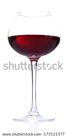 Wineglass with red wine, isolated on white - stock photo