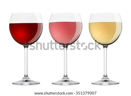 wineglasses with variety of wines, on white background - stock photo