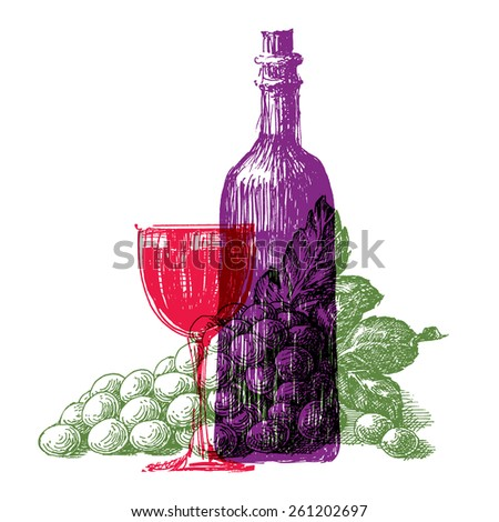winemaking and vineyard on a white background. sketch - stock photo