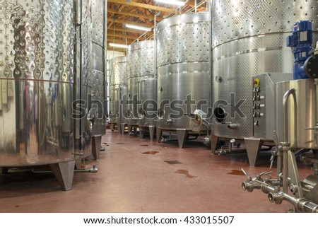 winery, modern factory, production of wine - stock photo