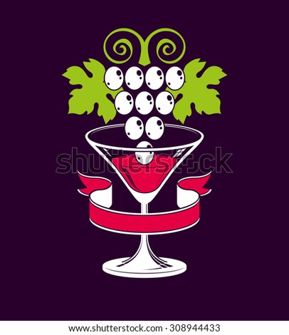 Winery theme illustration. Stylized half full martini glass with grapes vine placed over dark background, racemation symbol best for use in advertising and graphic design. - stock photo