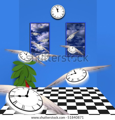 Winged clocks fly out of room - stock photo