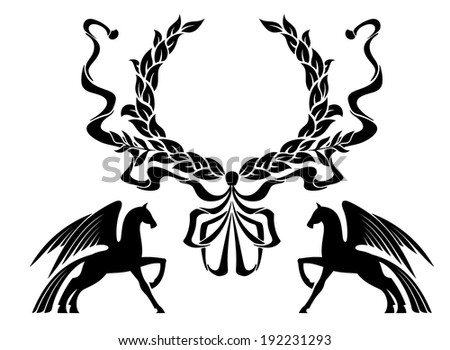 Winged horses with laurel wreath for heraldry design. Vector version also available in gallery - stock photo