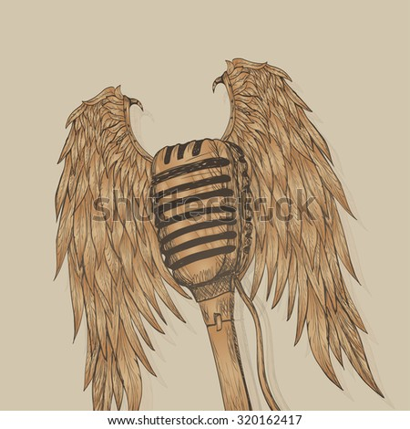 Winged microphone - stock photo