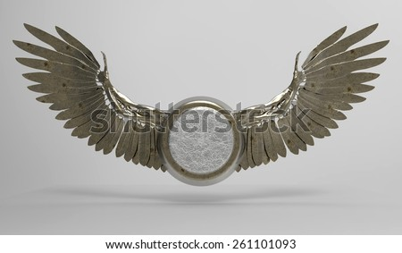 Wings in 3D with medallion, isolated with a clipping path - stock photo