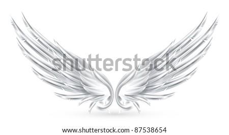 Wings White, bitmap copy - stock photo