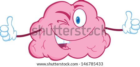 Winking Brain Character Giving A Thumb Up. Vector version also available in gallery - stock photo