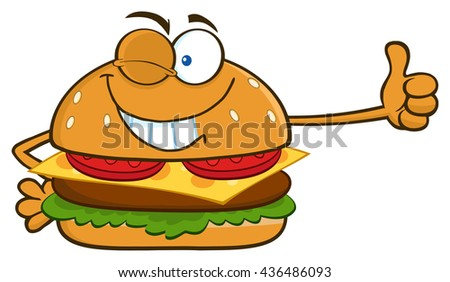 Winking Burger Cartoon Mascot Character Showing Thumbs Up. Raster Illustration Isolated On White Background - stock photo