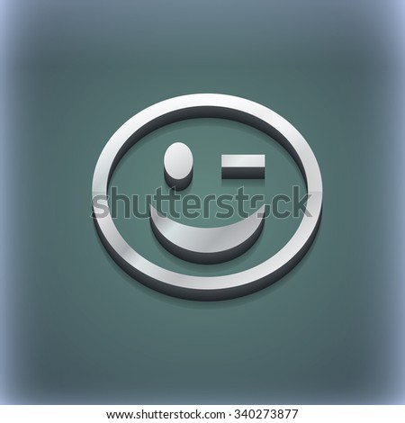 Winking Face icon symbol. 3D style. Trendy, modern design with space for your text illustration. Raster version - stock photo