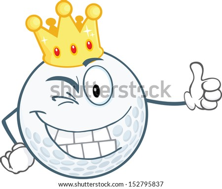 Winking Golf Ball Cartoon Character With Gold Crown Holding A Thumb Up. Raster Illustration - stock photo