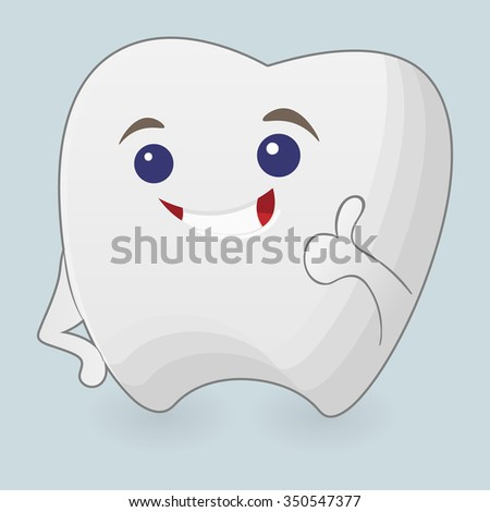 Winking tooth illustration. Cartoon icon on a blue background - stock photo