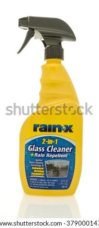 Winneconne, WI - 19 Feb 2016:  Bottle of Rain X glass cleaner and rain repellent, - stock photo