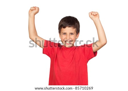 Winner boy isolated on a over white background - stock photo