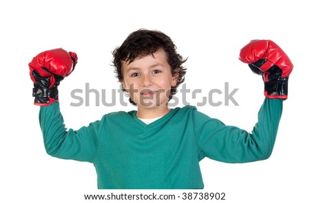Winner boy with boxing gloves isolated on white - stock photo