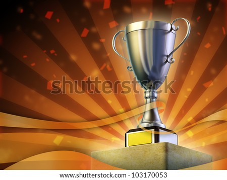 Winner cup standing on a pedestal. Festive orange background. Digital illustration. - stock photo