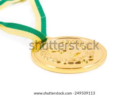 winner gold medal over white - stock photo