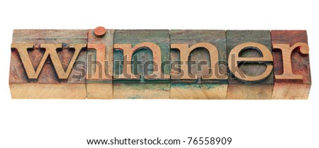 winner - isolated word in vintage wood letterpress printing blocks - stock photo