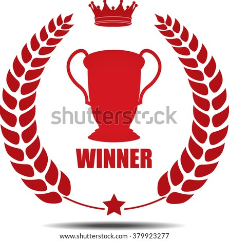 Winner, Label, Sticker or Icon Isolated on White Background. - stock photo