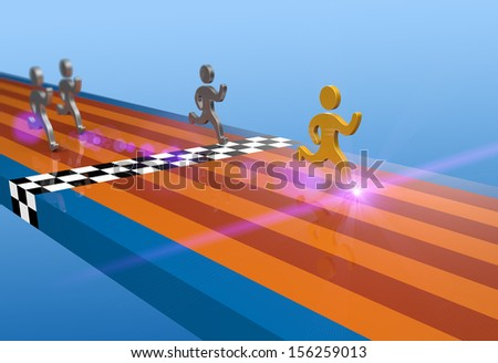 Winner of the athletic track as concept - stock photo