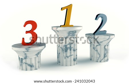 Winner podium and numbers 1 2 3 on the white background - stock photo
