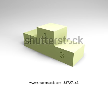 Winner podium - light green with numbers, 3d image - stock photo