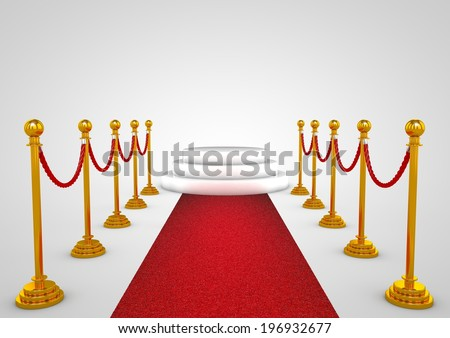 Winner podium with red carpet - stock photo
