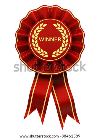 Winner , red and gold rosette - stock photo