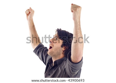Winner / Success -  One very happy energetic businessman with his arms raised, a lot of copyspace, isolated on white - stock photo