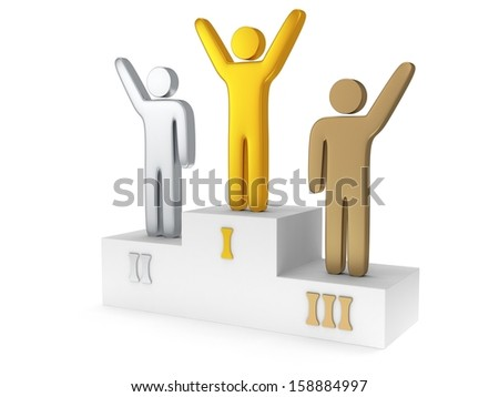 Winners on sports podium for the first, second and third place isolated on white. Stylized metal people raise hands up.  Gold, silver and bronze. 3D render. - stock photo