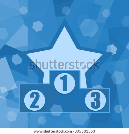 Winners podium and star on blue background - stock photo