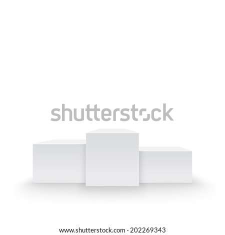 Winners podium, pedestal isolated on white background - stock photo