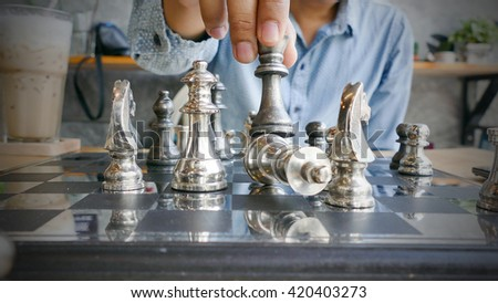 Winning chess move in the checkmate - stock photo