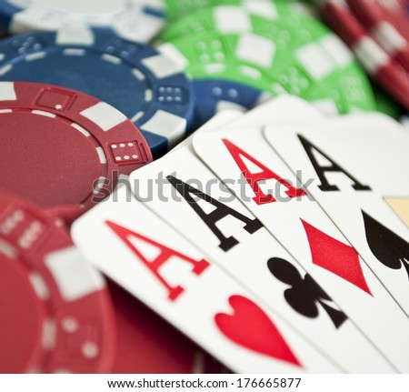 Winning hand of four aces  - stock photo