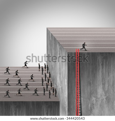 Winning strategy plan as a smarter more cunning businessman using a hidden ladder to rise above an industry obstacle and rise above the competition who are blocked by a high wall barrier. - stock photo